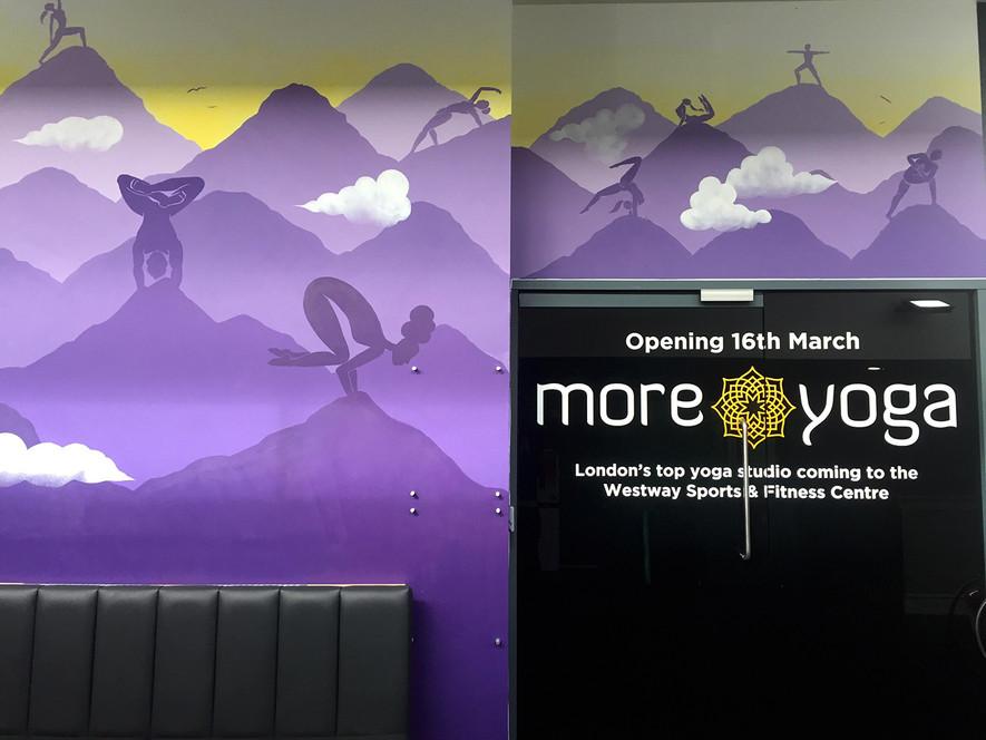 Climbing yoga studio mural art