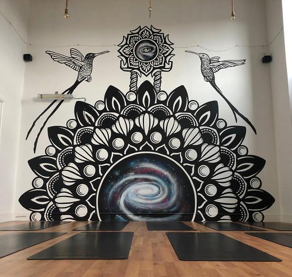Mandala galaxy mural painting psy gate