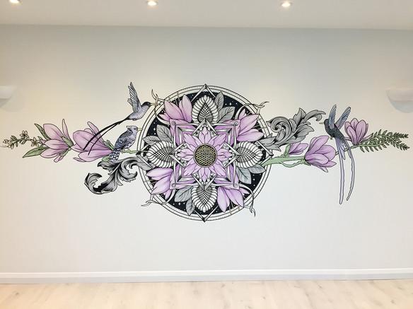 the aviary mural art sacred geometry