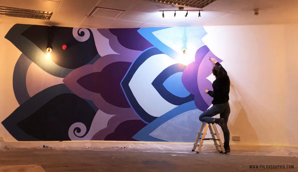 Third eye mandala mural progress