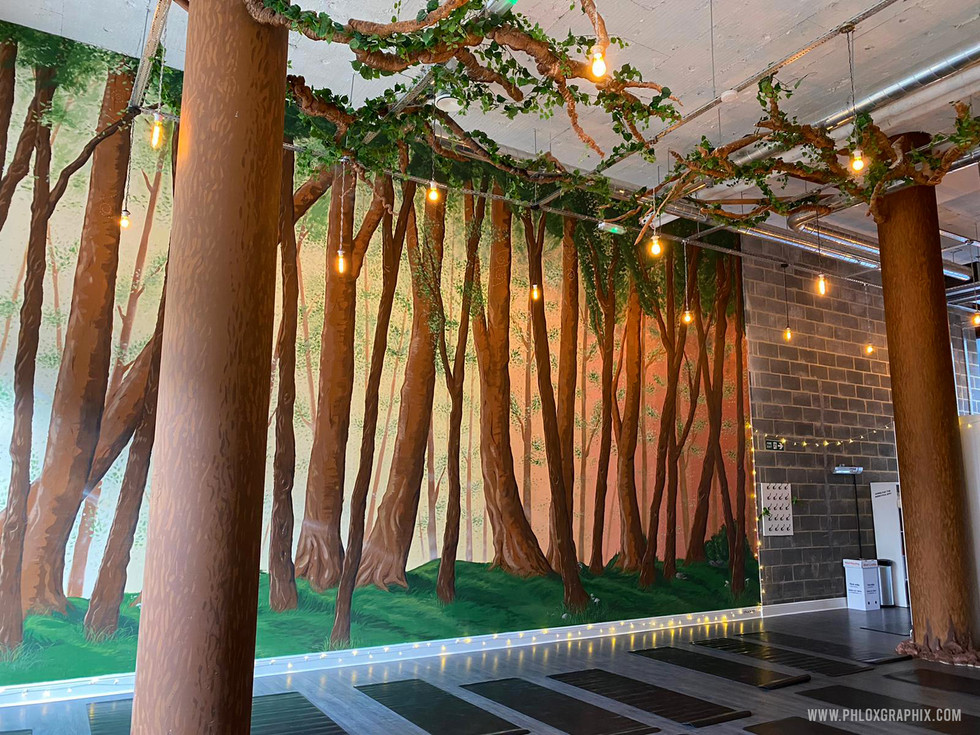 Forest mural and tree installations by phloxgraphix 2
