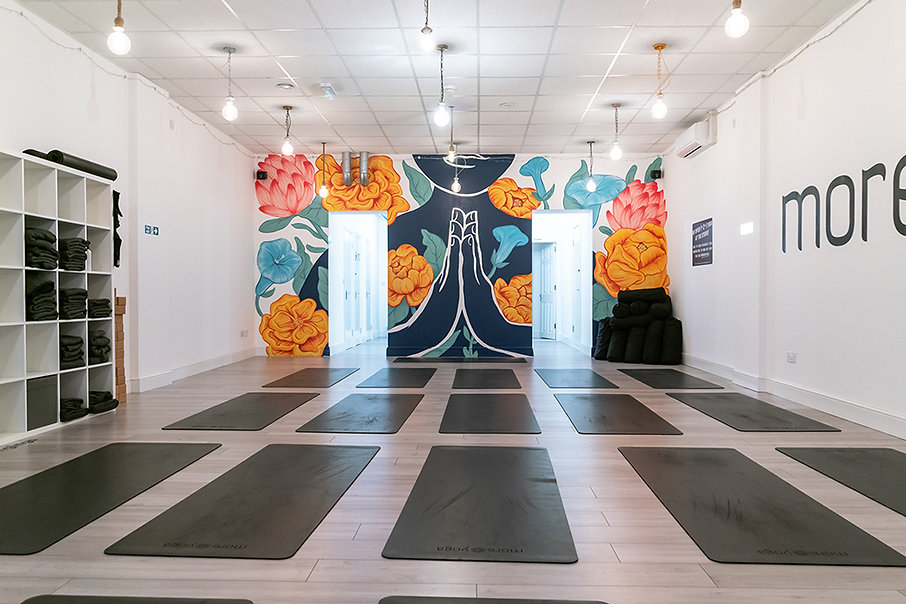 namaste floral mural art