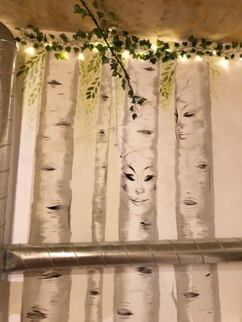 Birch Forest Mural with tree installations 08