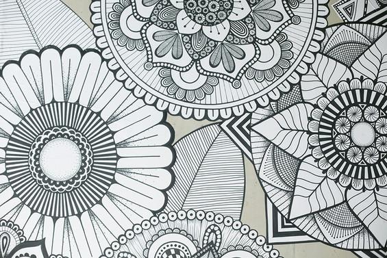 hand drawn wallpaper details