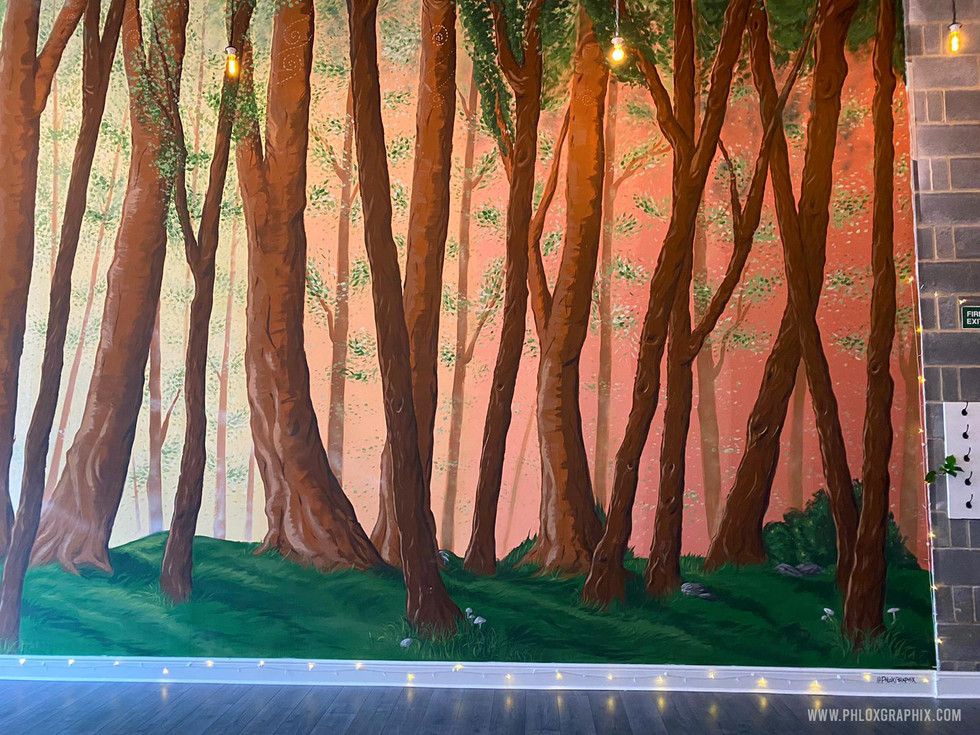 Forest mural and tree installations by phloxgraphix