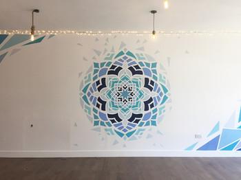 shattered mandala mural art