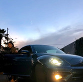 My car and the evening sky