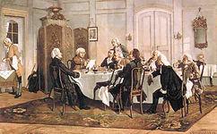 Kant_und_seine_Tischgenossen. By Emil Dörstling (1859–1940) (Scan einer Postkarte) [Public domain], via Wikimedia Commons