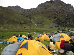 Tents set up in the Andes