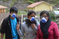 Volunteers with face masks