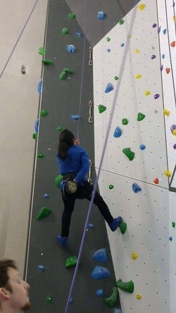 Lisbeth rock climbing