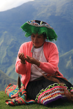 Simiana spinning wool on a pushka