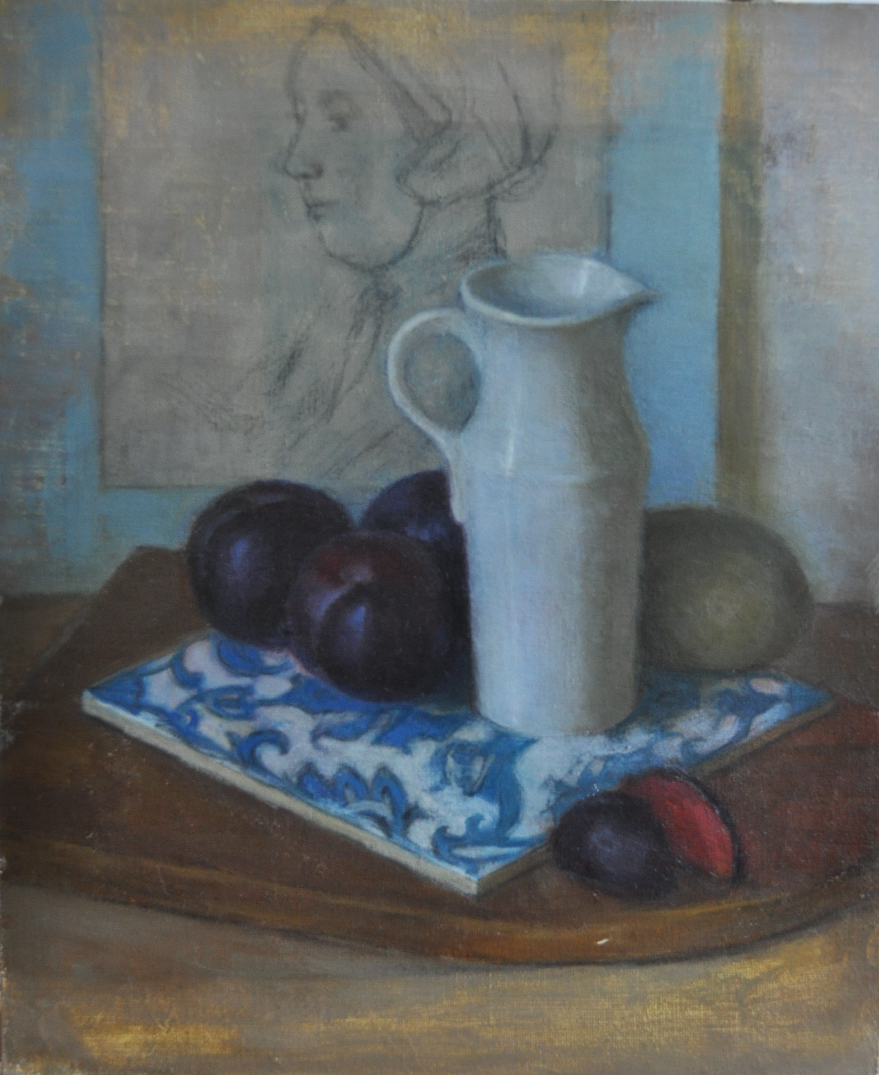 Plums and vase
