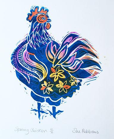 Sue Ribbans_Spring Chicken_linocut MG_11