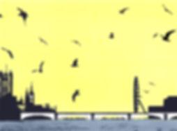 The Birds, Embankment, Screenprint 24 x
