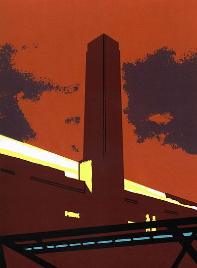 TOWARDS TATE MODERN, screen print 25.4 x