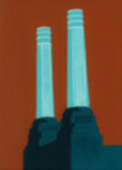 (Jennie Ing) Battersea's Chimneys (teal)