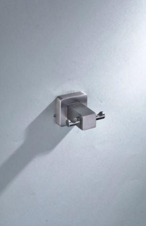 Cabide Quadrado Duplo Banheiro Dupla Fixação Aço Escovado