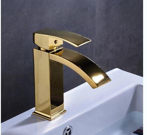 Torneira Misturador Monocomando Cascata Slim Baixa Dourada