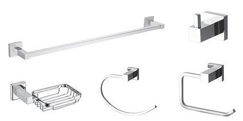 Kit 5 Peças Acessórios Banheiro Quadrado Com Dupla Fixação
