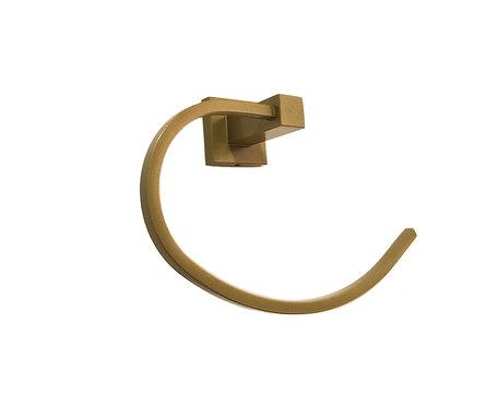 Porta Toalha Quadrado Para Banheiro Dourado Dupla Fixação