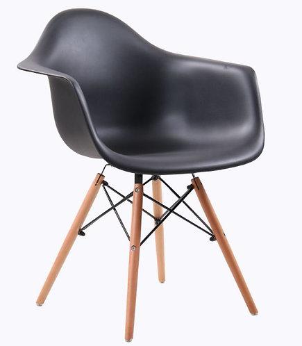 Cadeira Colorida Pvc Modelo Vegas C/ Braços Preta