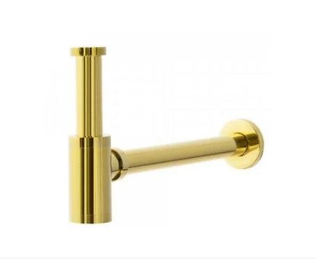 Sifão Metálico Dourado Com Copo Para Banheiro Gold Dourado