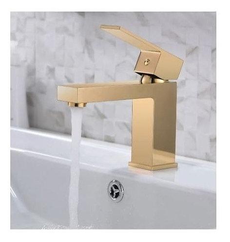 Torneira Monocomando Banheiro Quadrada Dourada Brilhante