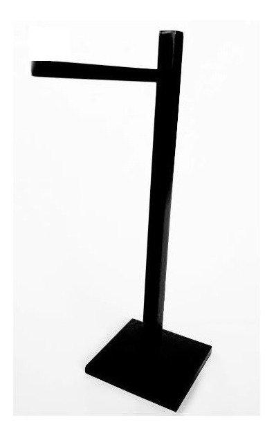 Porta Toalha De Apoio Luxo Lavabo Quadrado Preto Fosco