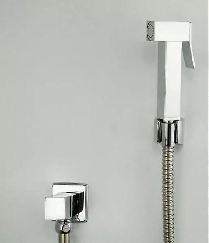 Ducha Higiênica Cromada Luxo Modelo Quadrado 1/4 De Volta