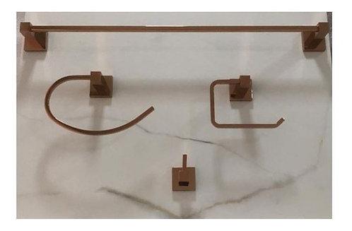 Kit 4 Peças Acessórios Banheiro Quadrado Rose Gold Brilhante