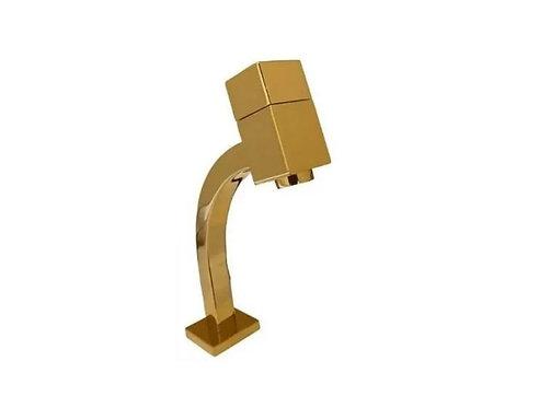 Torneira Link Quadrada Baixa 1/4 De Volta Dourada Brilhante