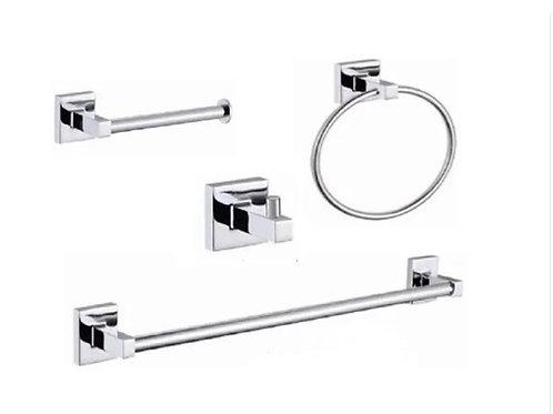 Kit 4 Peças Acessórios Banheiro Quadrado Linha Basic Luxo