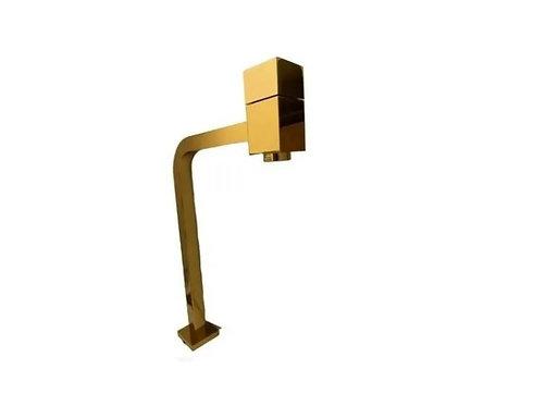 Torneira Link Quadrada Alta - 1/4 De Volta Dourada Brilhante