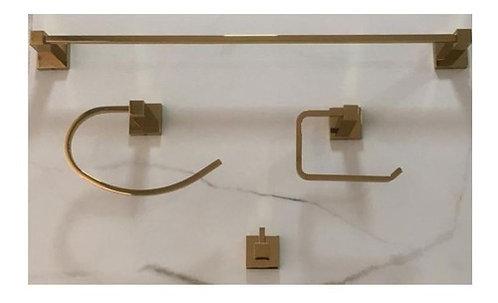 Kit 4 Peças Acessórios Banheiro Quadrado Dourado Brilhante