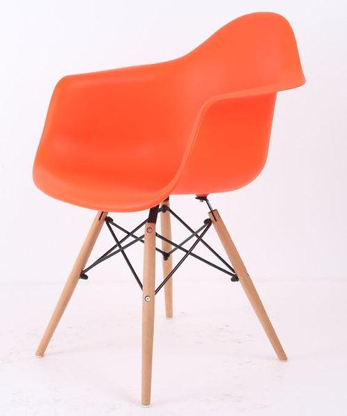 Cadeira Colorida Pvc Modelo Vegas C/ Braços Laranja