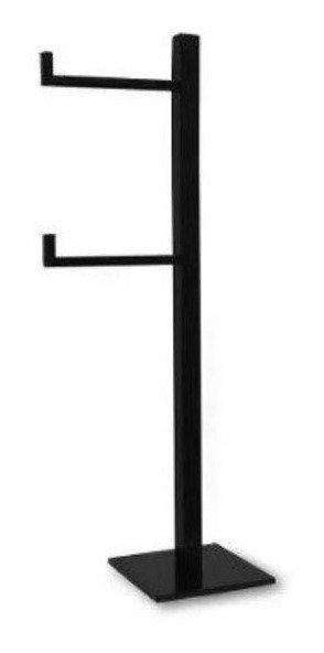 Porta Papel Higiênico Apoio Chão Duplo Inox Quadrado Preto