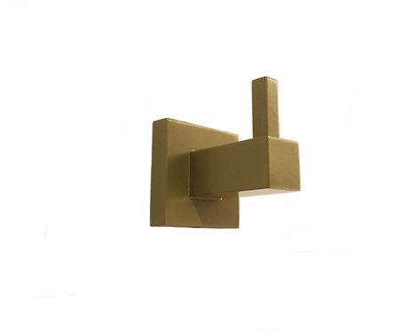 Cabide Quadrado Para Banheiro Dourado Dupla Fixação
