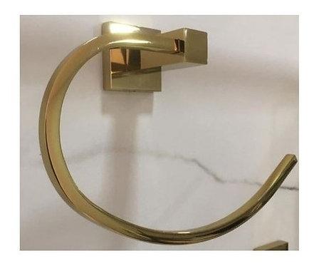 Porta Toalha Quadrado Para Banheiro Dourado Brilhante
