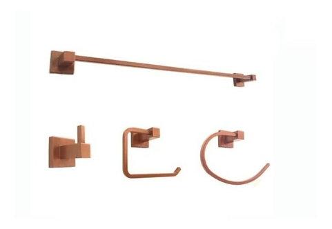 Kit 4 Peças Acessórios Banheiro Quadrado Rose Gold