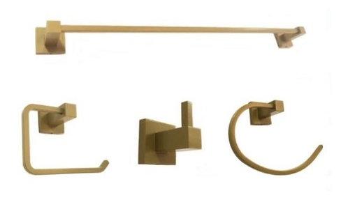 Kit 4 Peças Acessórios Banheiro Quadrado Dourado