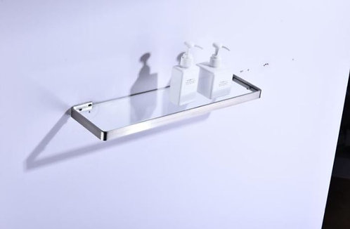 Porta Shampoo Em Aço Escovado 55cm. Prateleira Em Vidro