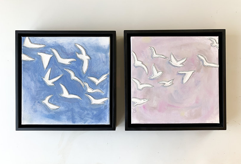 Freedom Birds: Blue and Violet framed set