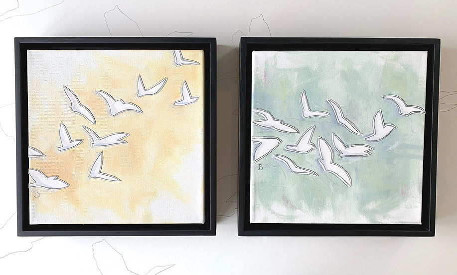 "Freedom Birds: Yellow and Green 10x10"" with black floater frames"