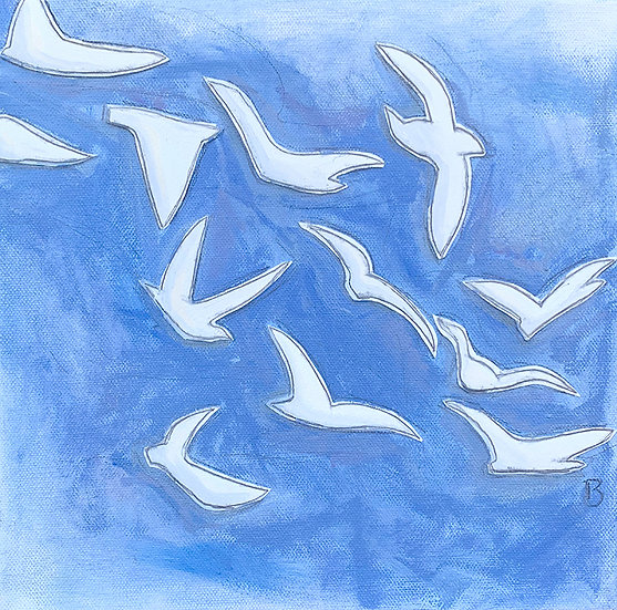 Freedom Birds: Blue 10x10""