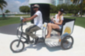 Sobe Rides Tour with Customer and dog on Miami Beach