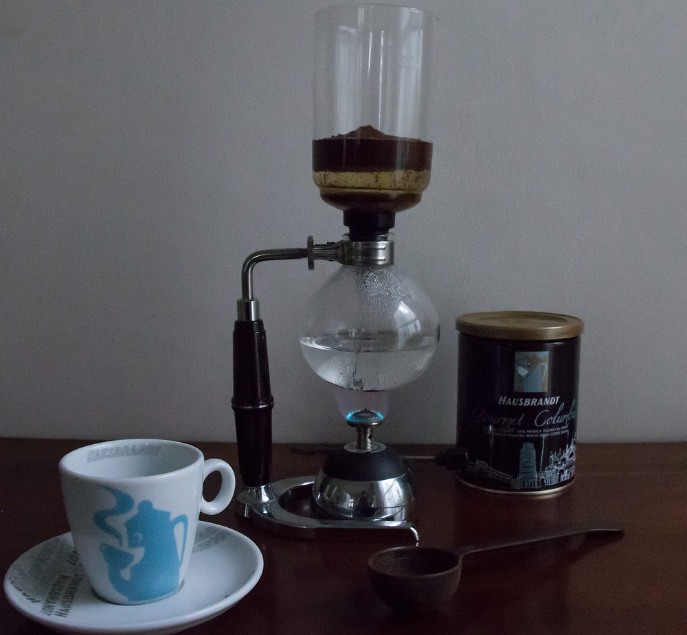 This is a photo of a Syphon brewing Hausbrandt coffee, it can also be used to brew tea. We would love it if you tried our Ronnefeldt loose tea selection with this apparatus.
