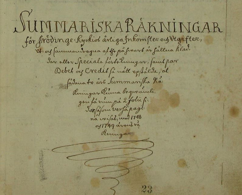 Old Swedish hand writing from a court book in 1706