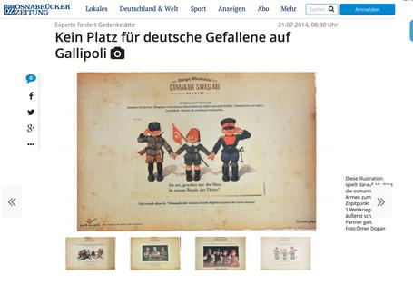 Artikel in der Neuen Osnabrücker Zeitung zur deutschen Erinnerungskultur um Gallipoli