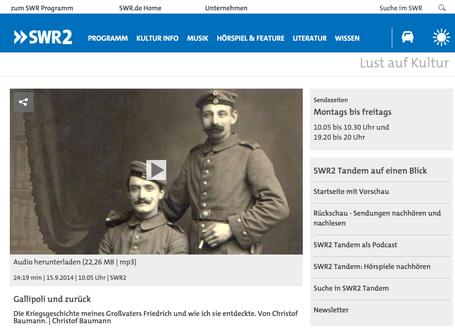 Die Geschichte des Pioniers Friedrich Baumann in Gallipoli - Webcast im SWR 2
